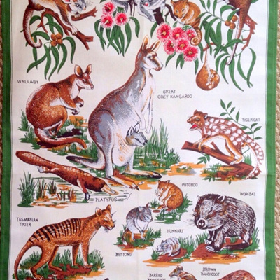 Animals of Tasmania Tea Towel