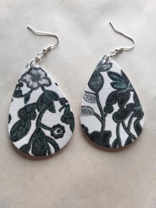 """""""ANITA"""" Black & Floral Teardrop Earrings"""
