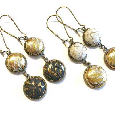 Antique brass double drop earrings