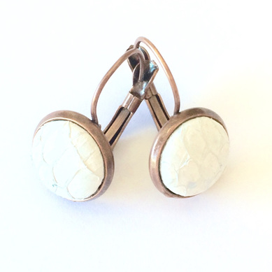 Antique copper French hook and Stud earrings