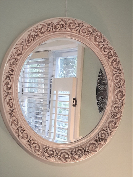 Antique Cream Round Mirror