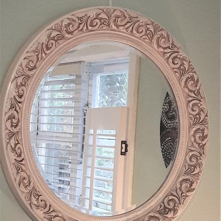 Antique Cream Round Mirror - $650