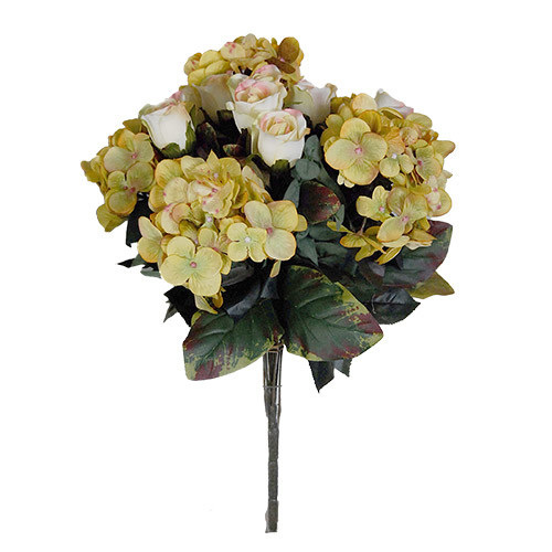 antique yellow hydrangea and rose posy