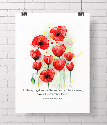 ANZAC Ode of Remembrance - on A3