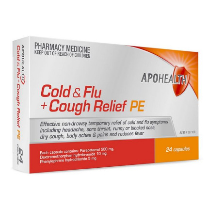APOHEALTH COLD & FLU COUGH RELIEF PE 24 CAPSULES