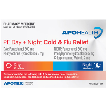 APOHEALTH PE COLD & FLU DAY & NIGHT RELIEF 24 TABLETS S2