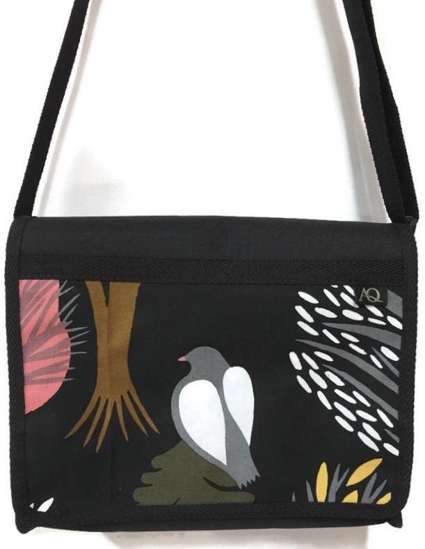 AQ satchel in bird fabric and NZ made