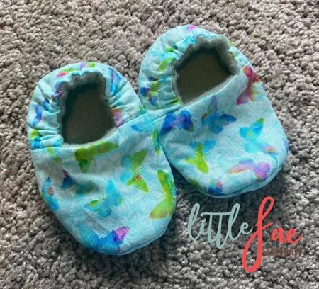 Aqua Butterfly Baby Slipper Shoes