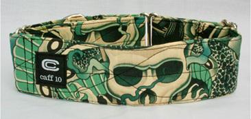 """Aqua Skull Designer 2"""" Collar - caff 10"""