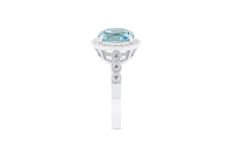 aquamarine and diamond 18ct white gold ring