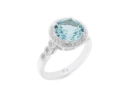 Aquamarine and Diamond Halo Ring