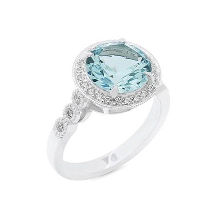 Aquamarine and Diamond Halo Ring