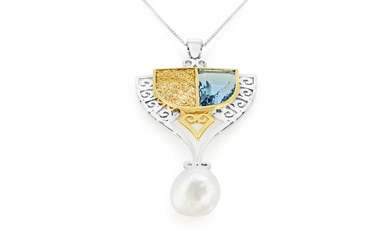 aquamarine and pearl necklace art nouveau pendant