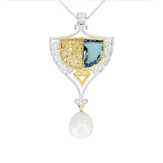 Aquamarine and Pearl Pendant