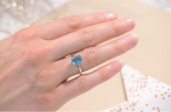 aquamarine gemstone solitaire ring
