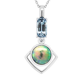 Aquamarine, Paua Pearl and Diamond Pendant