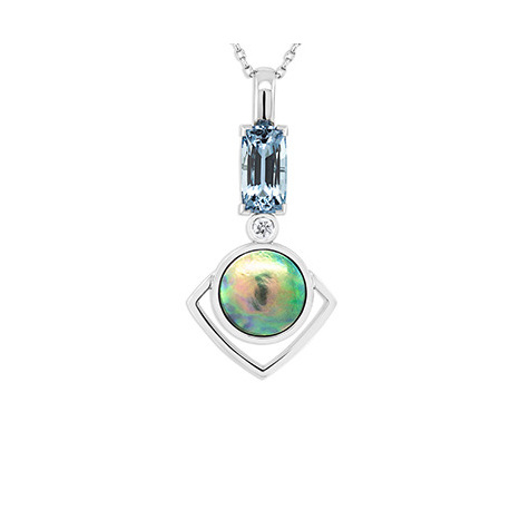 Aquamarine, Paua Pearl and Diamond Pendant