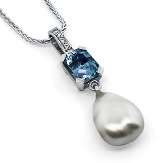 Aquamarine, Pearl and Diamond Pendant