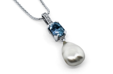 Aquamarine, Pearl and Diamond Pendant