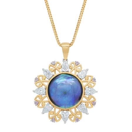 Arapaua: Paua Pearl and Pink Argyle Diamond Pendant