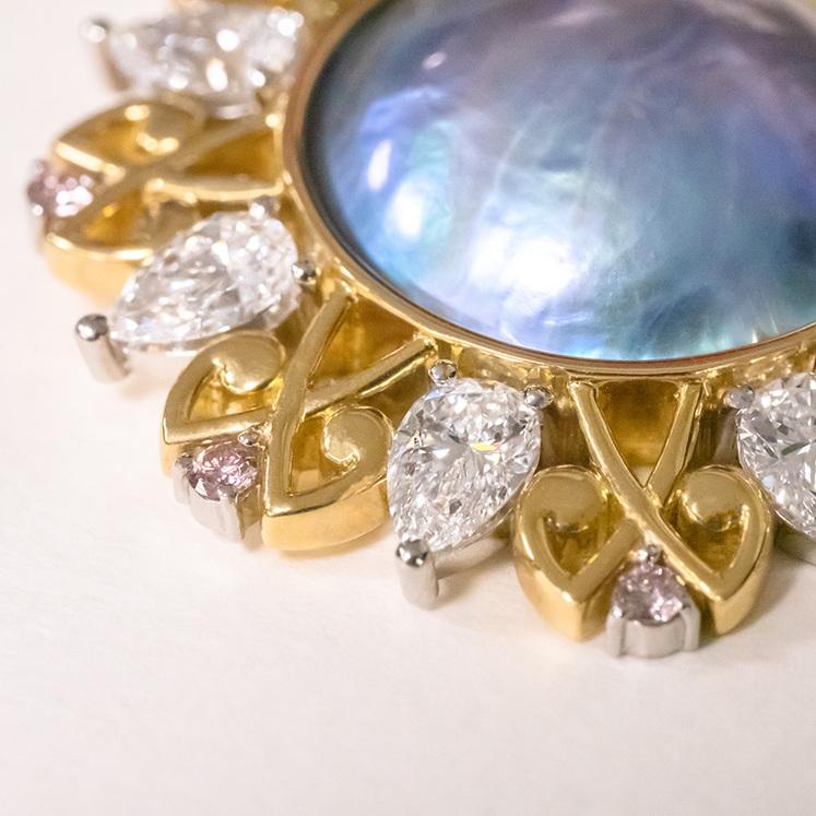 Arapaua pearl, internally flawless diamond, pink argyle diamond, 18ct pendant