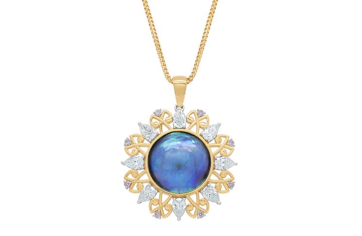 Arapawa: Paua Pearl and Pink Argyle Diamond Pendant