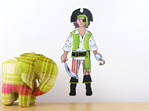 Archie's Pirate Costume dress up doll wall decal