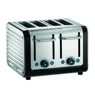 Architect 4 Slice Toaster - Brushed Stainless Steel, Black