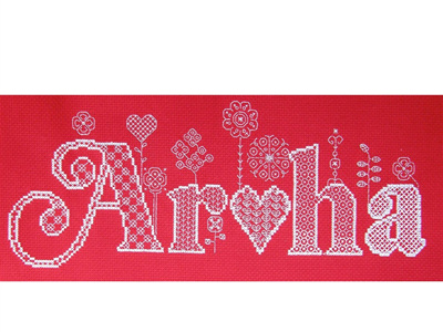 Aroha cross stitch/blackwork chart