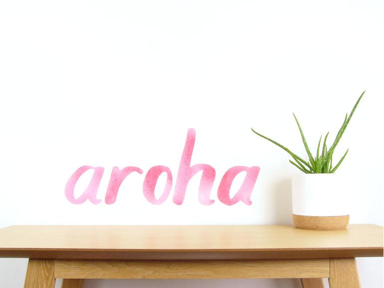 aroha wall decal