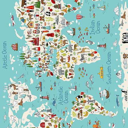 Around the World Map Panel Multi TP-2398-1