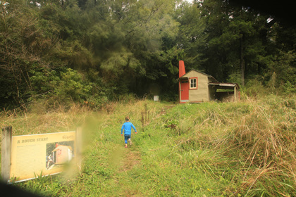 arriving at goat creek hut with kids nz hiking