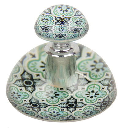 ARRIVING SOON Moroccan-Style Glass Perfume Bottle Paperweight: Teal