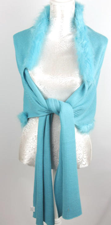 ARRIVING SOON Wrap with Faux Fur: Blue