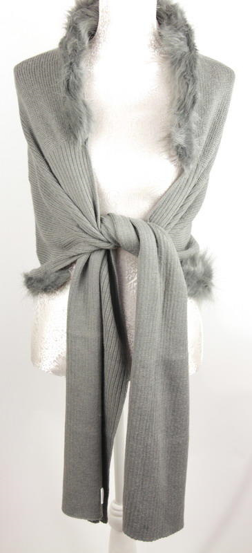 ARRIVING SOON Wrap with Faux Fur: Grey