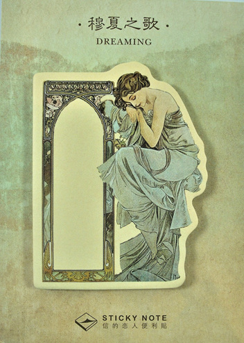 Art Deco Lady Sticky Memo Pad