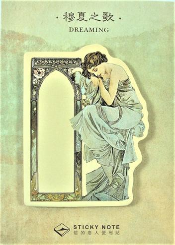 Art Deco Lady Sticky Memo Pad