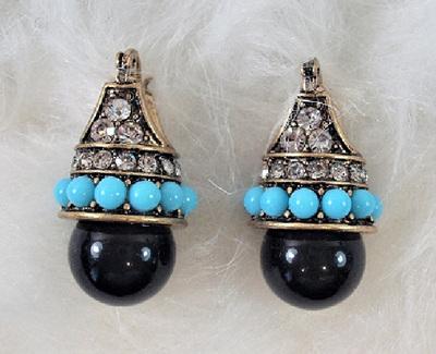 Art Deco Style Blue & Black Drop Earrings