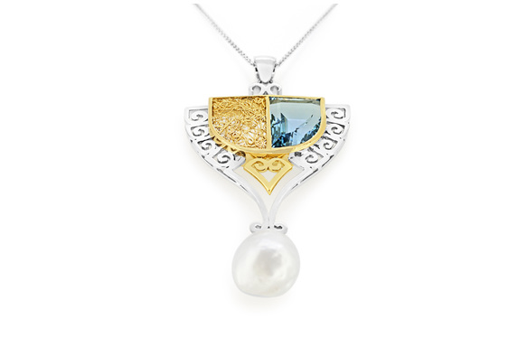 art nouveau aquamarine and pearl pendant in white gold and yellow gold