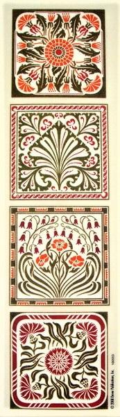 Art Nouveau Design Rub-On Craft Transfers