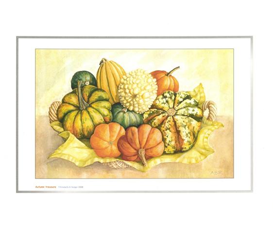 Art print from watercolour: Miniature pumpkins & squash in basket