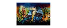 Artblock Tui/ flax 20cm x 29cm