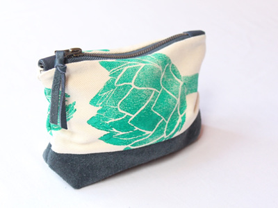 Artichoke Pouch with Leather Detail