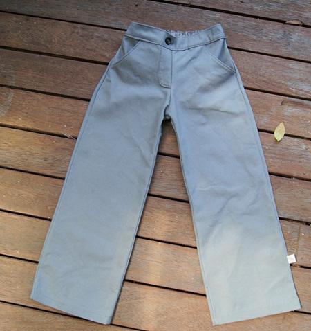 'Ashley' Trousers, Expandable Waist, 'Gray' GOTS Organic Cotton Canvas, 3 years