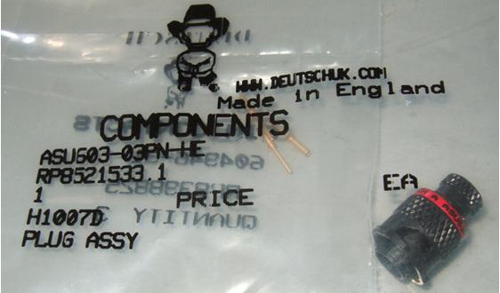 ASU connector by Deutsch 3 way pin contacts