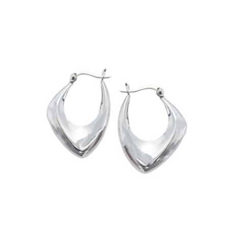 Asymmetric Sterling Silver Hoop Earrings