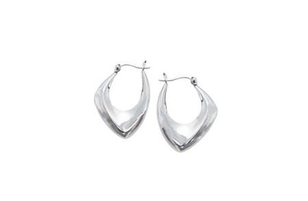 Asymmetric Sterling Silver Hoop Earrings