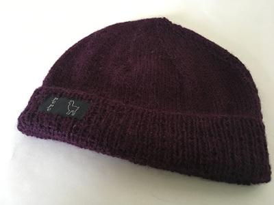 Aubergine Knitted Hat 4 Ply 100% Alpaca