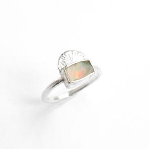 aura australian raw opal sterling silver bezel set ring organic sun moon