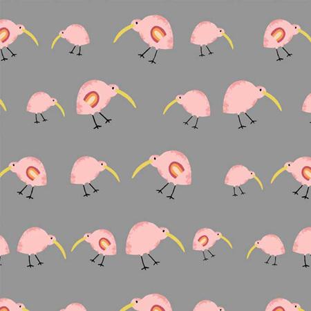 Aussie Friends Pink Kiwis on Grey 04376